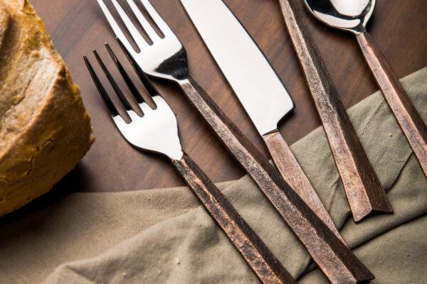 semi rusted cutlery